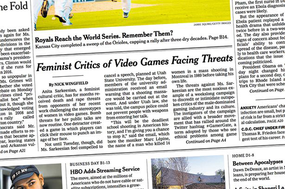 """Feminist Critics of Video Games Facing Threats."" New York Times, 16 oktober."